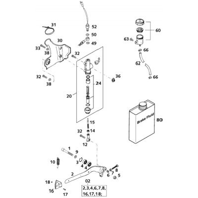 Rear Brake Operating System 125 Exe 2001