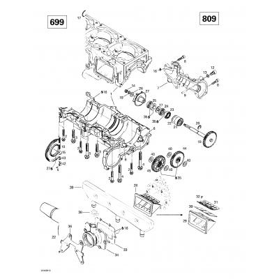 Crankcase, Reed Valve, Water Pump (809)
