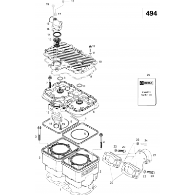 Cylinder And Exhaust Manifold 494