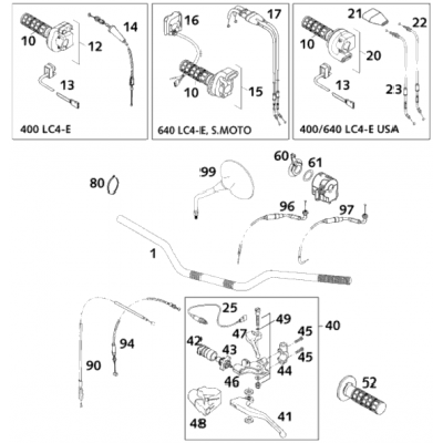 Handlebar,Instruments 400/640 Lc4 2001