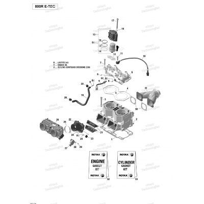 Блок цилиндров, Головка блока цилиндров - 800R E-TEC