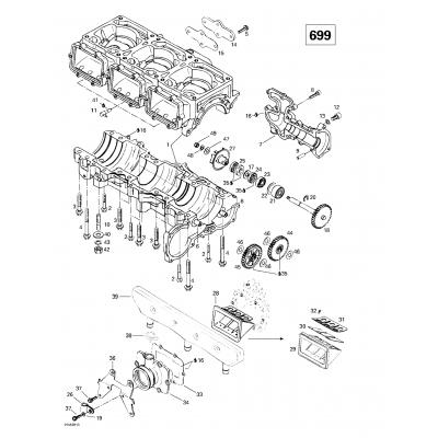 Crankcase, Reed Valve, Water Pump (699)
