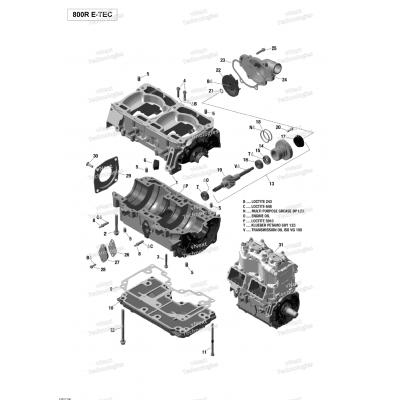 Картер, Водяной насос - 800R E-TEC