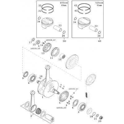 Crankshaft, Piston 400/520 Racing 2001