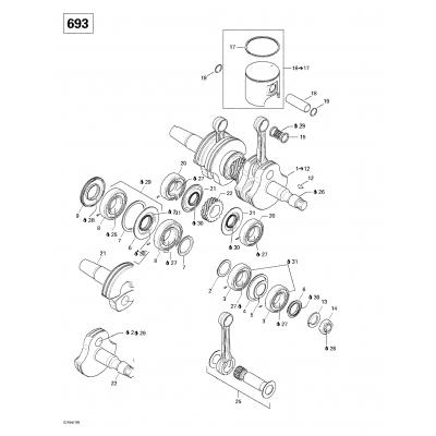 Crankshaft And Pistons (493, 593)