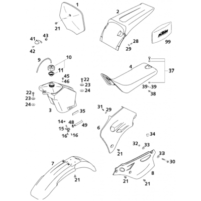 Fuel Tank,Seat,Covering 65Sx 2001