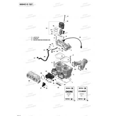 Блок цилиндров, Головка блока цилиндров - 600HO E-TEC