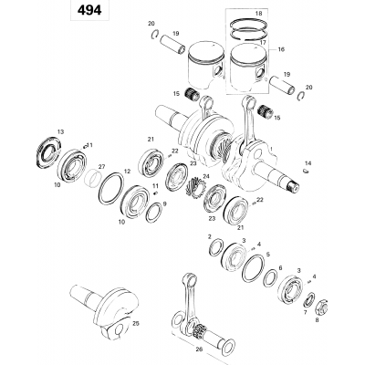 Crankshaft And Pistons 494