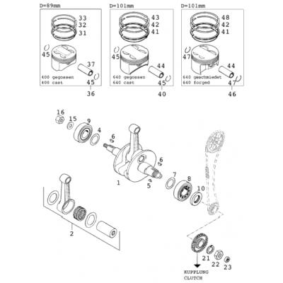 Crankshaft, Piston 400/640 Lc4-E 2000