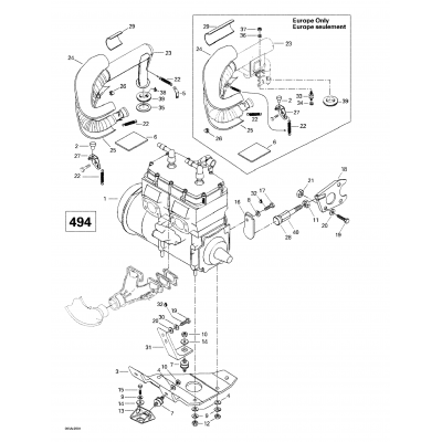 Engine Support And Muffler (494)