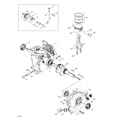 Crankcase, Barrel, Crankshaft, Piston