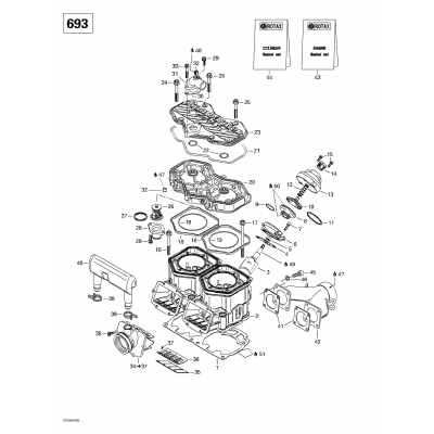 Cylinder, Exhaust Manifold, Reed Valve (693)