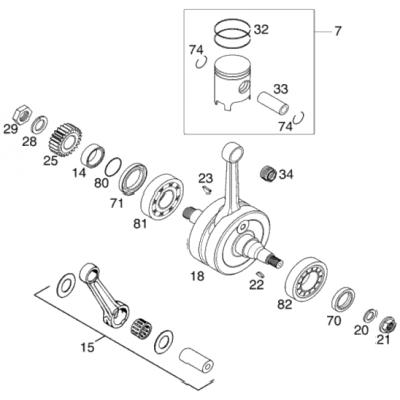 Crankshaft, Piston 125/200 2001