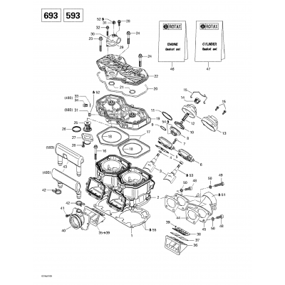 Cylinder, Exhaust Manifold, Reed Valve (493, 593)