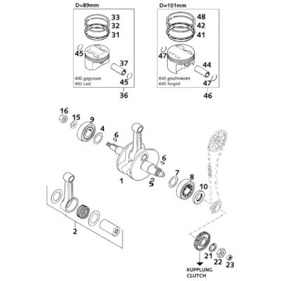 Crankshaft, Piston 400/640 Lc4-E 2001