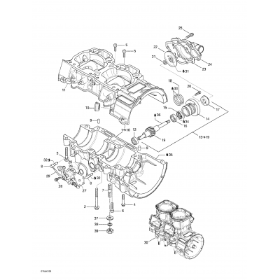 Crankcase, Water Pump And Oil Pump